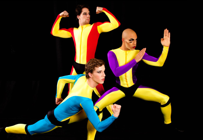 Boylesque troupe Mod Carousel (Paris Original, Trojan Original and Luminous Pariah) in recent London show Wham! Bam! Kaboom!