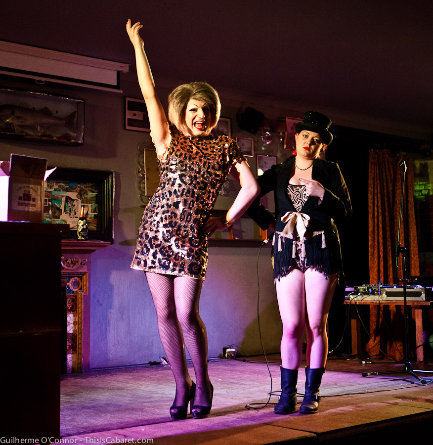 Myra Dubois and Ophelia Bitz co-host Guttersnipes, an evening of Cabaret and Burlesque on Tooting Broadway