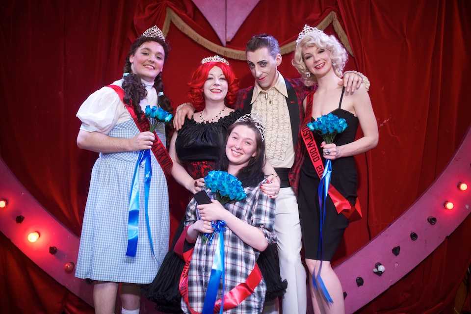 The Double R Club's 2012 Miss Twin Peaks Contest winners pose next to producers Rose Thorne and Benjamin Louche