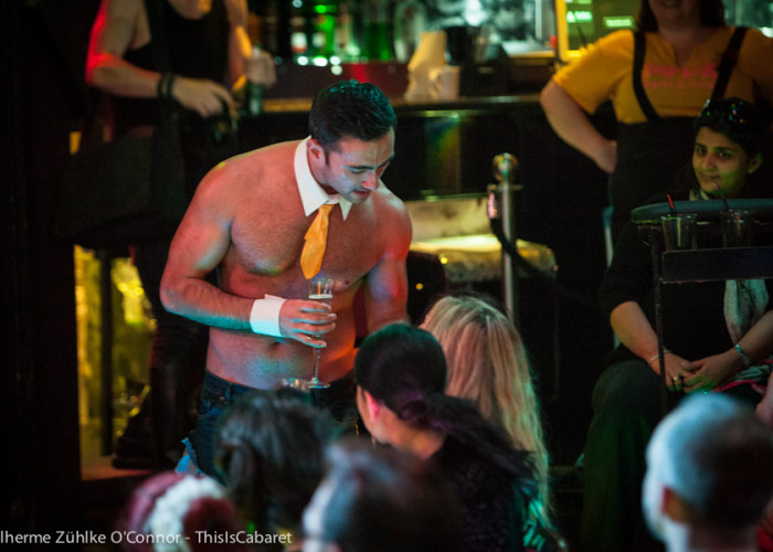 Male burlesque hunks like Phillip Anthony often come shirtless, but with added champagne