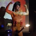 "Bombs away: Alp Haydar as ""Alp Qaeda, Gaza Stripper"" provided the half-time entertainment."