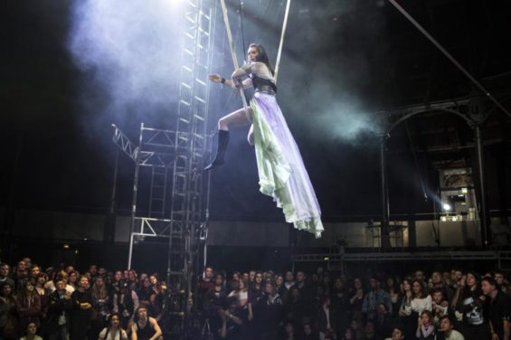 Much of the show takes place above the audience.