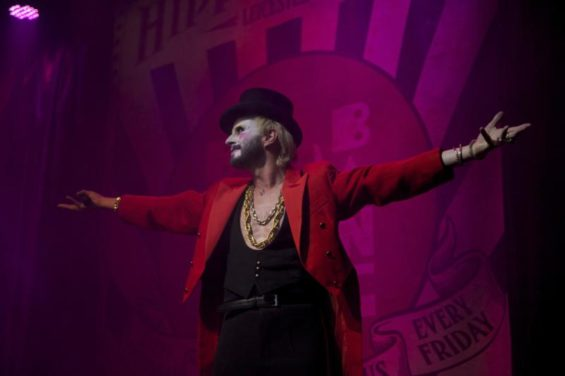 Jonny Woo the drag diva in high heels and one of Boom & Bang's MCs