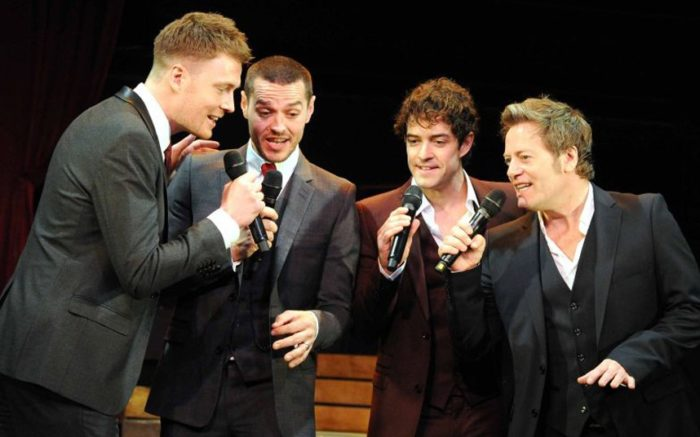 Un-suit-able: David Thaxton, Matt Willis, Lee Mead and Glenn Carter in 'The West End Men' Photo: Alastair Muir