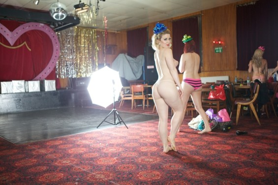 The Folly Mixtures preparing for their the All Nude Cabaret Charity Calendar 2014 shot.