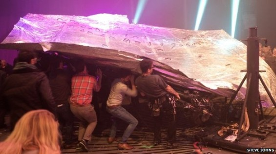 A photo from last night's calamity at the Roundhouse shows the scale of the incident.