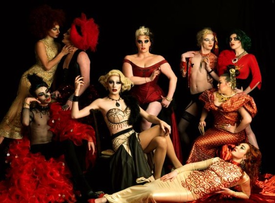 Members of the Familyyy Fierce: Miss Cairo, Bourgeoisie (red net headdress), Bambi Hunty (black fishnet top and red jacket), Meth, Rubyyy Jones, Ruby Wednesday (with Lolo) Lolo Brow, Lilly Snatchdragon and Scarlett O'Hora