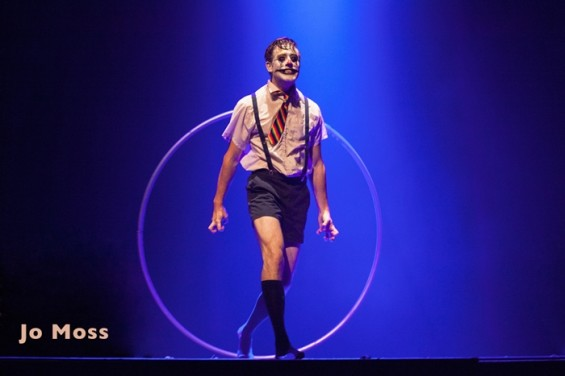 Once on stage, Jo Moss spun within his cyr wheel to the crowd's amazement and delight.