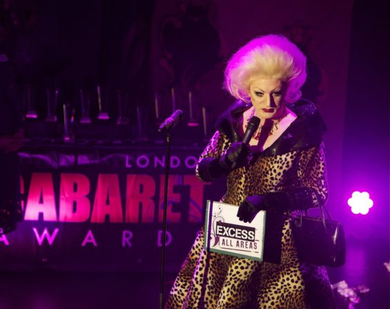 Hostess Myra Dubois at the London Cabaret Awards 2015. Image (c) Lisa Thomson