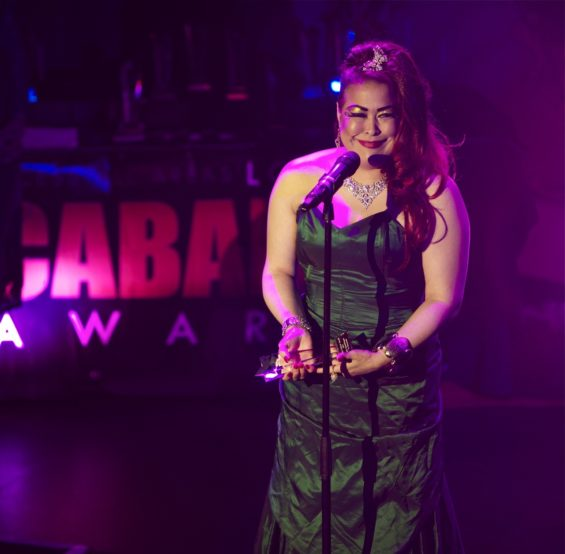 Best Newcomer Lilly Snatchdragon got some of the loudest cheers of the night at the London Cabaret Awards 2015. Image (c) Lisa Thomson
