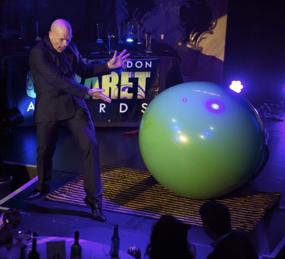 Sideshow artiste Bruce Airhead at the London Cabaret Awards 2015. Image (c) Lisa Thomson