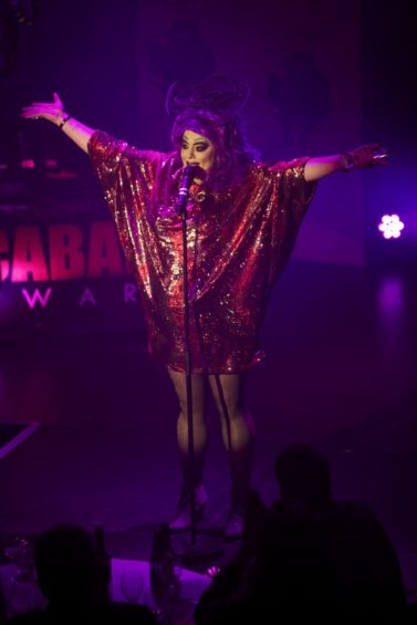 Holestar looks happy to win the Best Drag Act at the London Cabaret Awards 2015. Image (c) Lisa Thomson