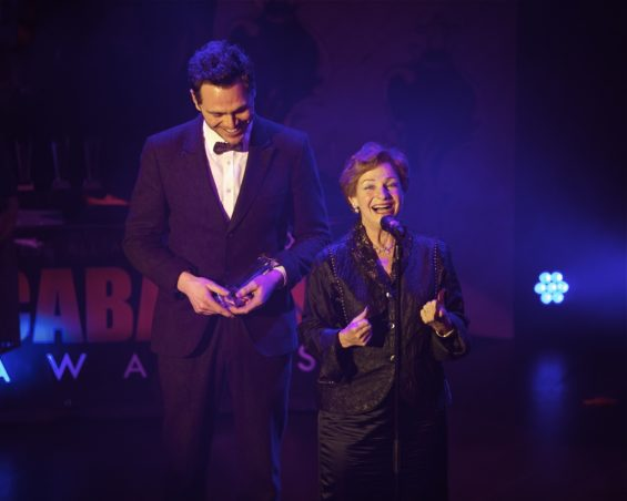 Crazy Coqs' Ruth Leon accepting the Best Venue Award at the London Cabaret Awards 2015. Image (c) Lisa Thomson
