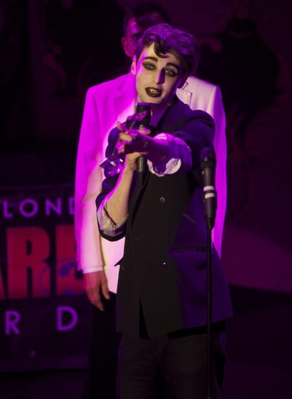 Unsung Hero award winner Slim Chance at the London Cabaret Awards 2015. Image (c) Lisa Thomson