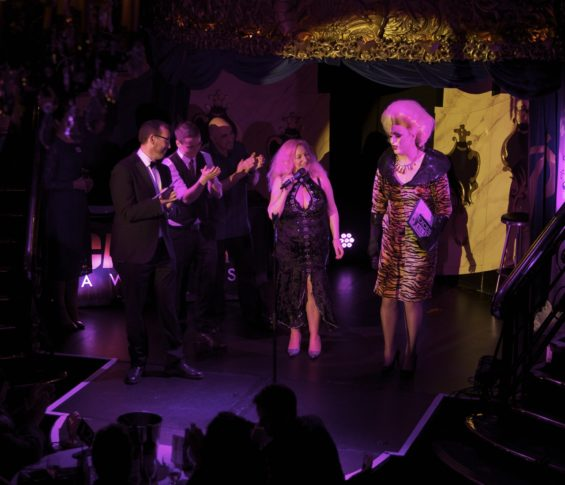 London Cabaret Award 2015 judges  with hostess Myra Dubois at the London Cabaret Awards 2015. Image (c) Lisa Thomson
