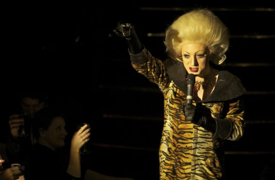 Queen of the night: hostess Myra Dubois at the London Cabaret Awards 2015. Image (c) Lisa Thomson