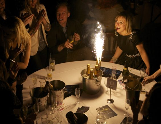 Some flaming champagne at the London Cabaret Awards 2015. Image (c) Lisa Thomson