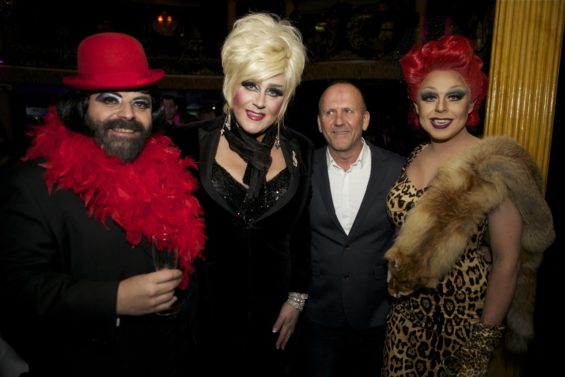 Doctor Woof, Miss Hope Springs, guest and La Voix at the London Cabaret Awards 2015. Image (c) Lisa Thomson