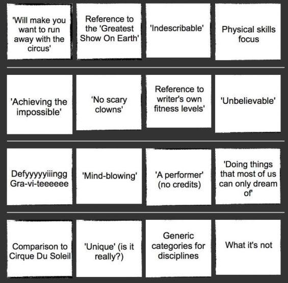 Circus Bingo (c) The Circus Diaries