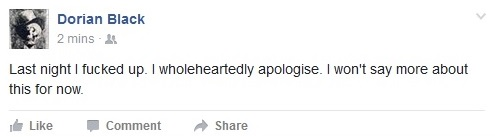 Dusty Limits (as his Facebook alter ego Dorian Black) apologises.